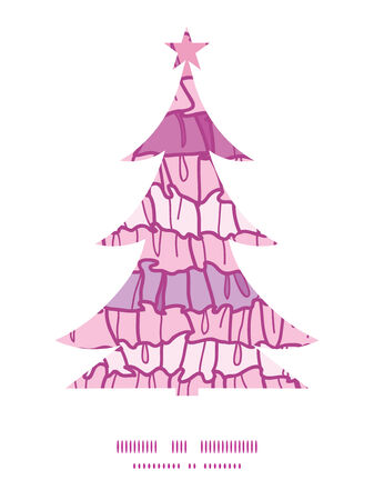 frill: Vector pink ruffle fabric stripes Christmas tree silhouette pattern frame card template