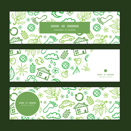 commercial recycling: Vector ecology symbols horizontal banners set pattern background graphic design