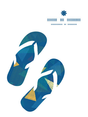 netting: Vector abstract fabric triangles flip flops silhouettes pattern frame