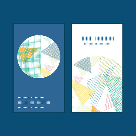abstract fabric triangles vertical round frame pattern business cards set graphic design