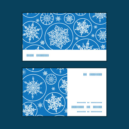 falling snowflakes horizontal stripe frame pattern business cards set graphic design Vector