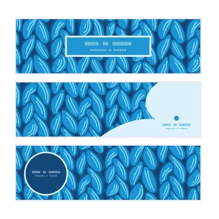 website header: Vector knit sewater fabric horizontal texture horizontal banners set pattern background