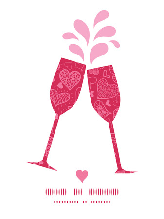 toasting wine: Vector doodle hearts toasting wine glasses silhouettes pattern frame Illustration