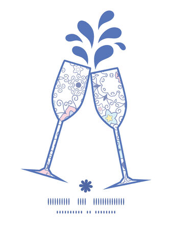 toasting wine: Vector ornamental abstract swirls toasting wine glasses silhouettes pattern frame