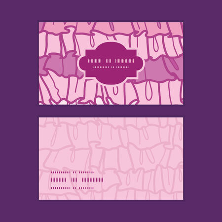 frill: Vector pink ruffle fabric stripes horizontal frame pattern business cards set Illustration