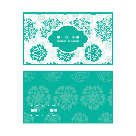 wheal: Vector abstract green decorative circles stars striped horizontal frame pattern business cards set Illustration