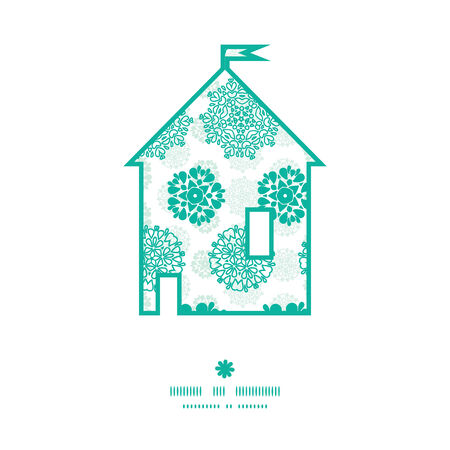wheal: Vector abstract green decorative circles stars striped house silhouette pattern frame Illustration