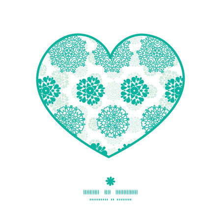 wheal: Vector abstract green decorative circles stars striped heart silhouette pattern frame