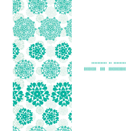 wheal: Vector abstract green decorative circles stars striped vertical frame seamless pattern background