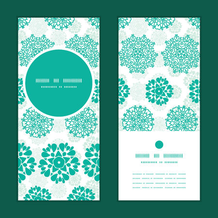 wheal: Vector abstract green decorative circles stars striped vertical round frame pattern invitation greeting cards set Illustration