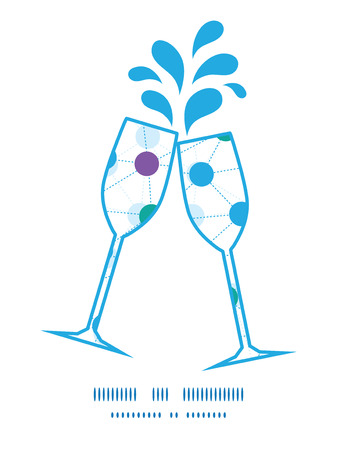 Vector connected dots toasting wine glasses silhouettes pattern frame