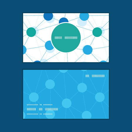 Vector connected dots vertical round frame pattern business cards set