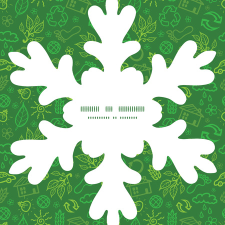 Vector ecology symbols Christmas snowflake silhouette pattern frame card template Vector