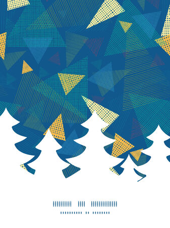 Vector abstract fabric triangles Christmas tree silhouette pattern frame card template