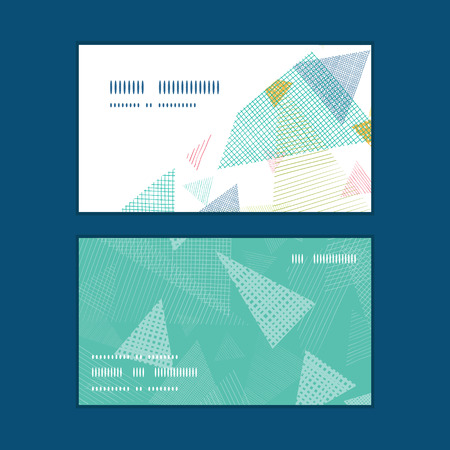 netting: Vector abstract fabric triangles horizontal corner frame pattern business cards set