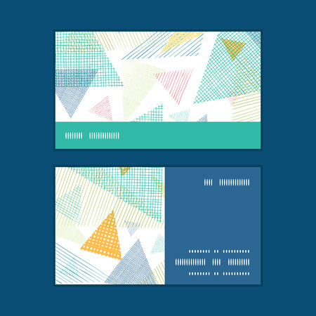 trendy tissue: Vector abstract fabric triangles horizontal stripe frame pattern business cards set Illustration