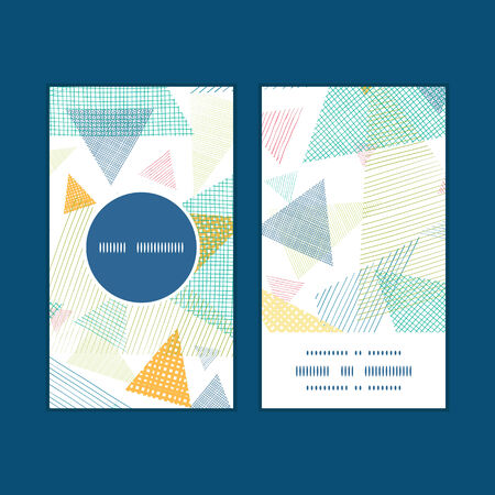 trendy tissue: Vector abstract fabric triangles vertical round frame pattern business cards set