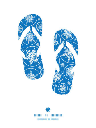 Vector falling snowflakes flip flops silhouettes pattern frame Vector