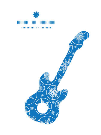 Vector falling snowflakes guitar music silhouette pattern frame Vector
