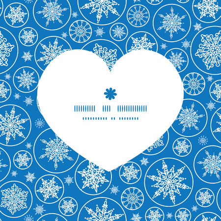 Vector falling snowflakes heart silhouette pattern frame Vector
