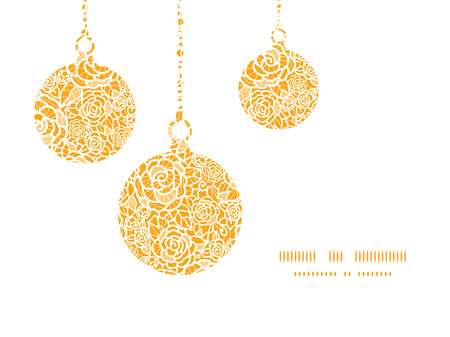 Vector golden lace roses Christmas ornaments silhouettes pattern frame card template Vector
