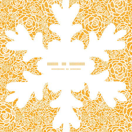 ttemplate: Vector golden lace roses Christmas snowflake silhouette pattern frame card template Illustration