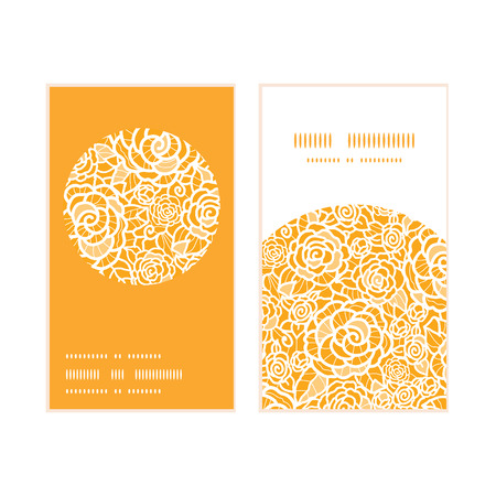golden texture: Vector golden lace roses vertical round frame pattern business cards set