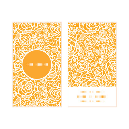 royal person: Vector golden lace roses vertical round frame pattern business cards set