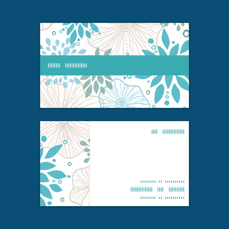 Vector blue and gray plants horizontal stripe frame pattern business cards set Çizim