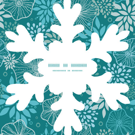 Vector blue and gray plants Christmas snowflake silhouette pattern frame card template Vector