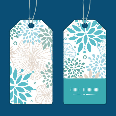 stripe: Vector blue and gray plants vertical stripe frame pattern tags set