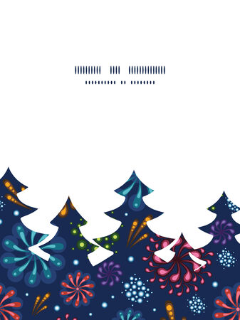 Vector holiday fireworks Christmas tree silhouette pattern frame card template