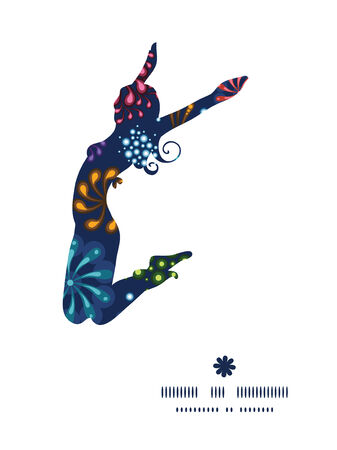 jumping girl: Vector holiday fireworks jumping girl silhouette pattern frame