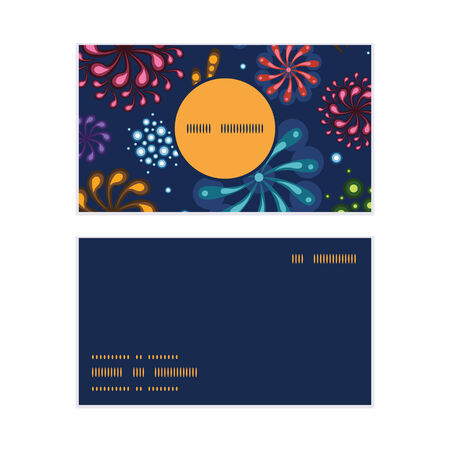 business event: Vector holiday fireworks vertical round frame pattern business cards set