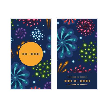 Vector holiday fireworks vertical round frame pattern business cards set Vector