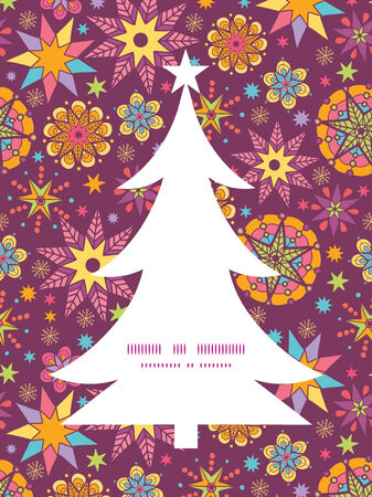 Vector colorful stars Christmas tree silhouette pattern frame card template Vector
