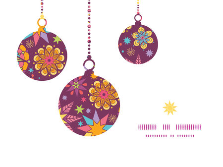 election night: Vector colorful stars Christmas ornaments silhouettes pattern frame card template