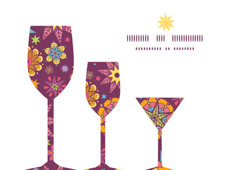 election night: Vector colorful stars three wine glasses silhouettes pattern frame Illustration