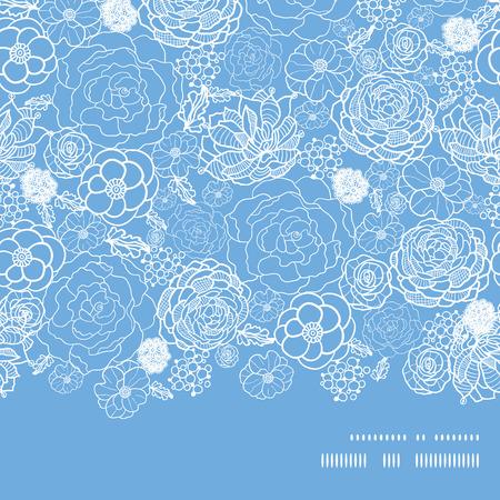 horizontal: Vector purple lace flowers horizontal frame seamless pattern background