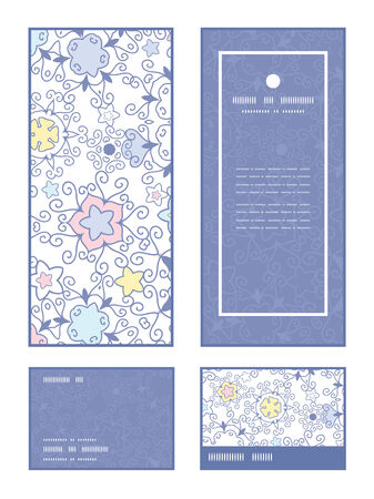 rsvp: Vector ornamental abstract swirls vertical frame pattern invitation greeting, RSVP and thank you cards set Illustration