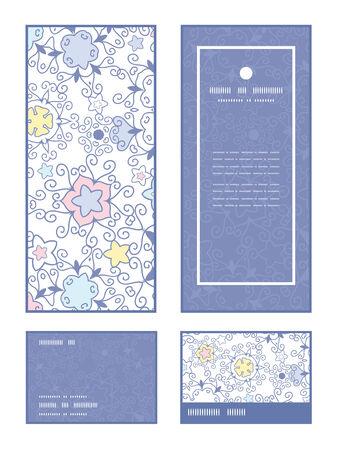 Vector ornamental abstract swirls vertical frame pattern invitation greeting, RSVP and thank you cards set Ilustração
