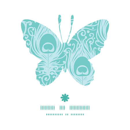 decorative card symbols: Vector soft peacock feathers butterfly silhouette pattern frame Illustration