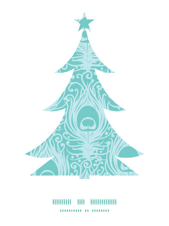 Vector soft peacock feathers Christmas tree silhouette pattern frame card template Vector