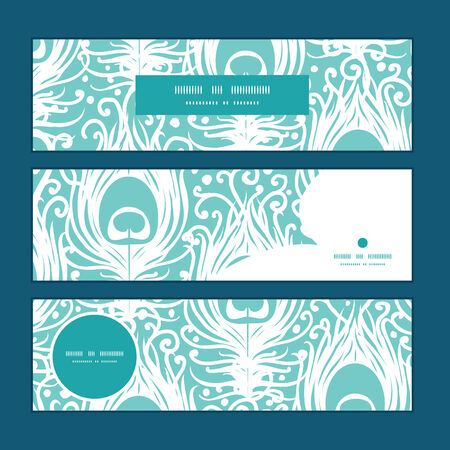 website header: Vector soft peacock feathers horizontal banners set pattern background