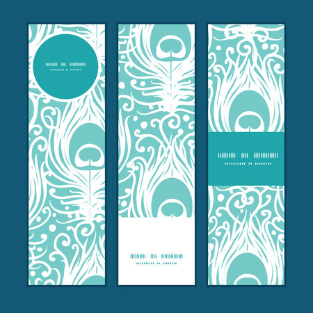 Vector soft peacock feathers vertical banners set pattern background Vector