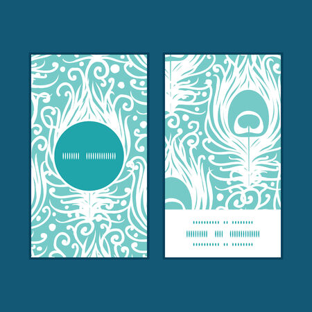Vector soft peacock feathers vertical round frame pattern business cards set Vector