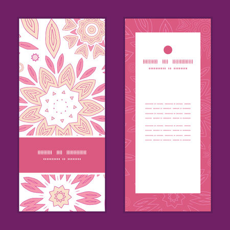 Vector pink abstract flowers vertical frame pattern invitation greeting cards set Stok Fotoğraf - 34728750