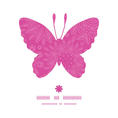 butterfly background: Vector pink abstract flowers texture butterfly silhouette pattern frame Illustration