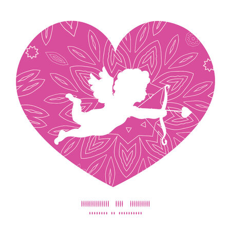 Vector pink abstract flowers texture shooting cupid silhouette frame pattern invitation greeting card template Vector
