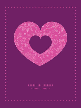 Vector pink abstract flowers texture heart symbol frame pattern invitation greeting card template Vector